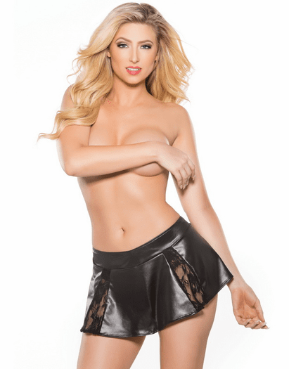 Can�t Be Tamed Wet Look Flare Mini Skirt