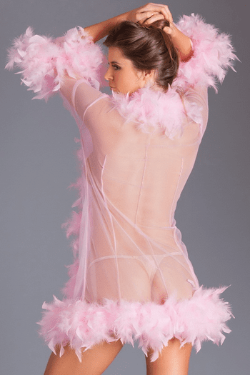 Candy Pink Lux Feather Robe