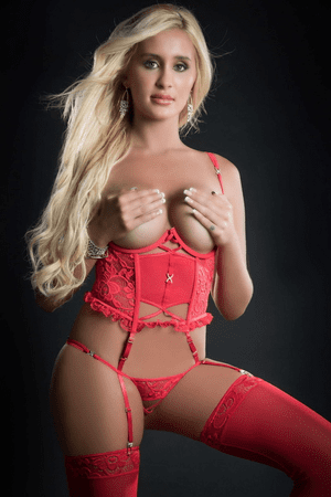 Candy Red Lace Corset Cupless & Crotchless Teddy