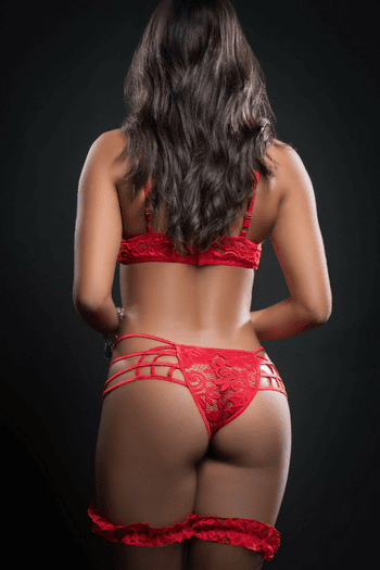 Candy Red Lace Strappy Gartered Cage Teddy