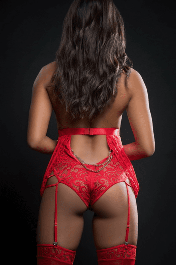 Candy Red Lace Zip Crotch Teddy