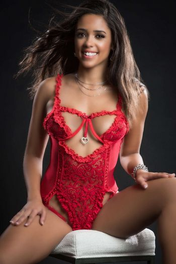 Candy Red Queen Of Hearts Lace Open Cup Teddy