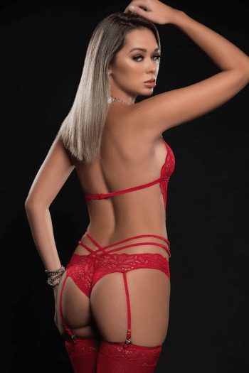 Candy Red Scalloped Lace Teddy & Stockings Set