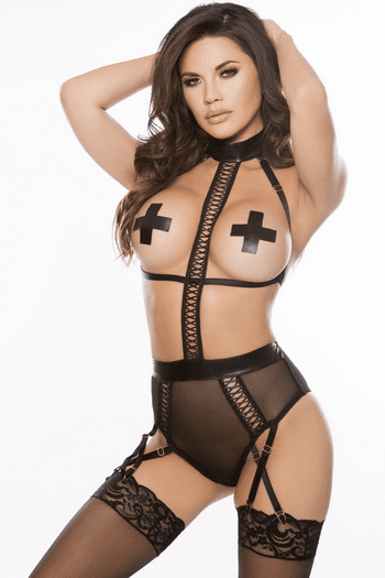 Caprice Faux Leather & Mesh Cupless Teddy