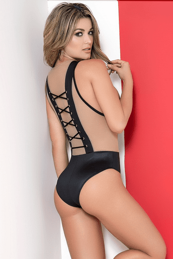 Captivating Lace Up Bodysuit