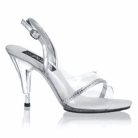 Sexy Silver & Clear 4 Inch Heel