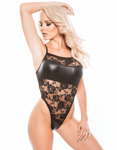 Casual Affair Wet Look & Lace Teddy