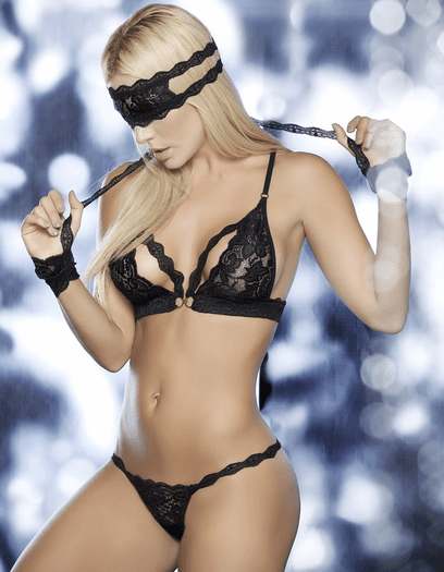 Celebrate Our Love Lace Bra, Panty, Eye Mask, & Cuffs Set