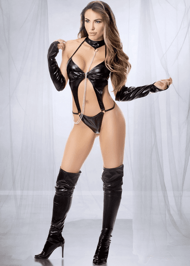 Chain Me Down Wet Look Teddy & Arm Cuff Set