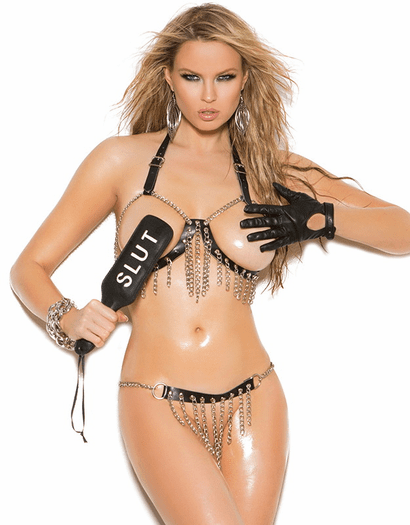 Chained To You Sexy Leather Open Bust Bra & Skirt Set