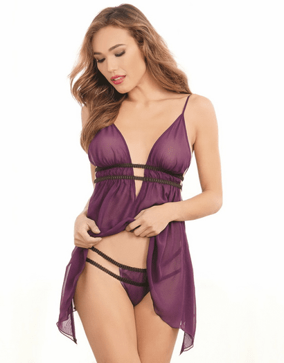 Chiffon Cupid Sheer Babydoll & Thong Set