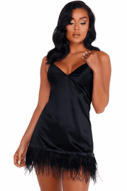 Classy in Black Feathered Chemise