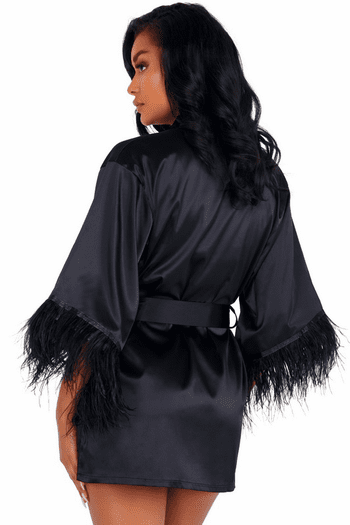 Classy in Black Feathered Robe