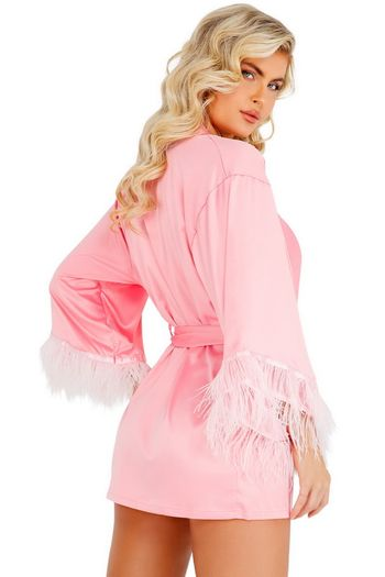 Classy in Pink Feathered Robe