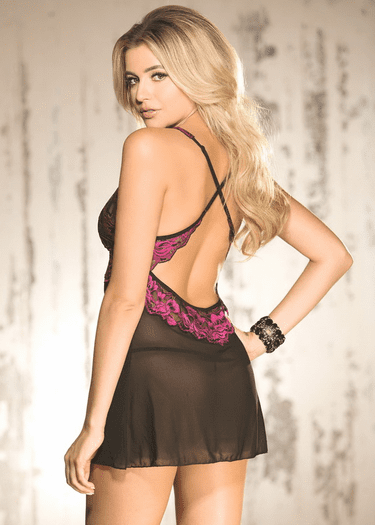 Come To Bed Sheer Floral Chemise & Thong Set