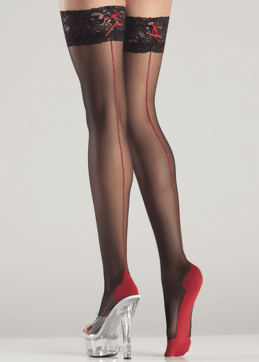 Contrast Thigh Highs With Bow