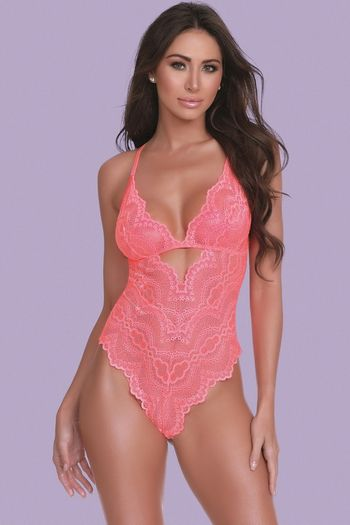 Coral Snap Crotch Lace Teddy