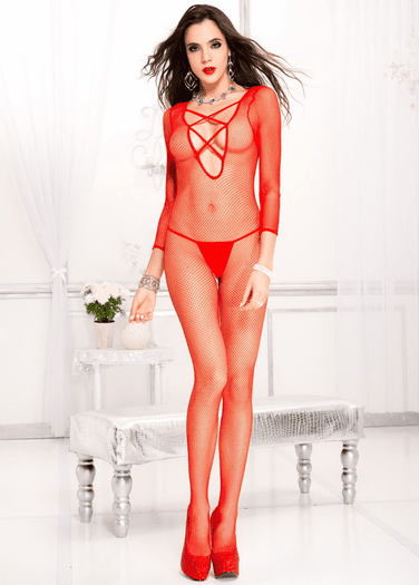Criss Cross Fishnet Crotchless Bodystocking