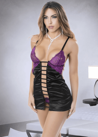 Cross My Heart Lace Chemise & Thong Set