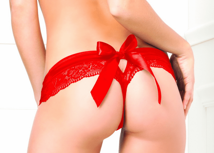 Crotchless Lace Bow Back Panty