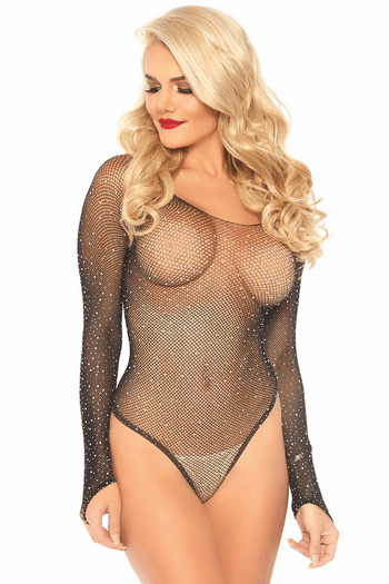 Crystalized Fishnet Teddy
