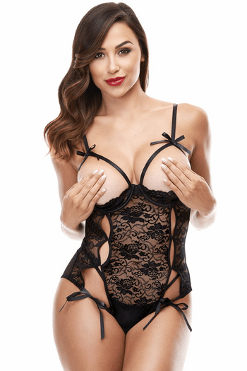 Cupless Black Lace Teddy