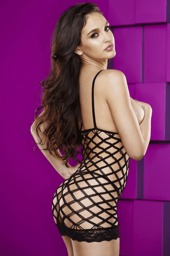 Cupless Diamond Net Mini Dress
