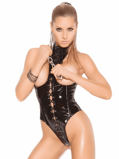 Cupless Vinyl Lace Up Teddy