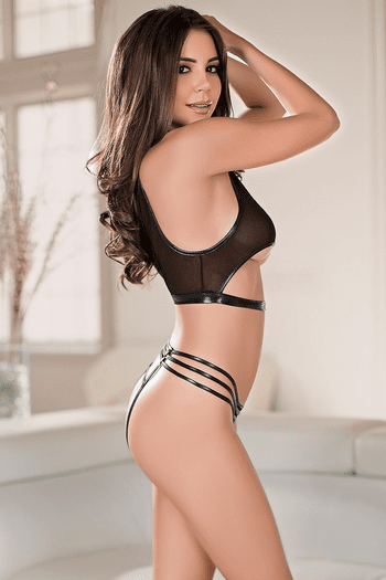 Cut Out Cami Top & Crotchless Panty Set