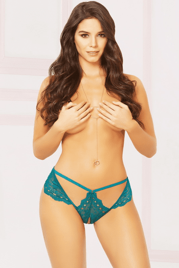Cut Out Crotchless Thong