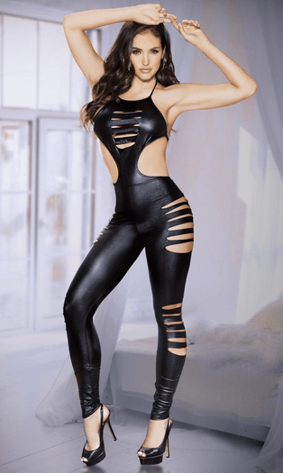 Cut Out Halter Bodystocking
