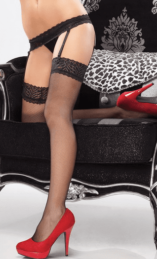 Cute Fishnet Stockings With Lace Top