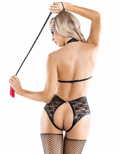 Cutout Strapped Black Lace Crotchless Teddy
