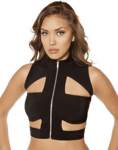 Cutout Zipper Crop Top