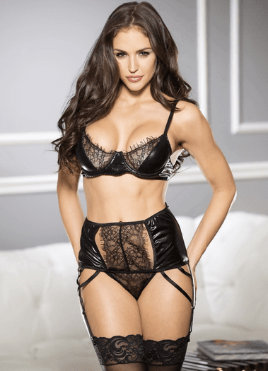 Daring Wet Look Bra & High Waist Garter Panty Set