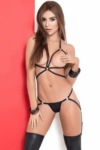 Daring Wet Look Lingerie Set