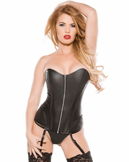 Dark But Daring Sexy Faux Leather Garter Corset
