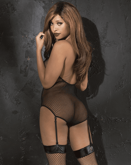 Dark Desire Fishnet Garter Teddy