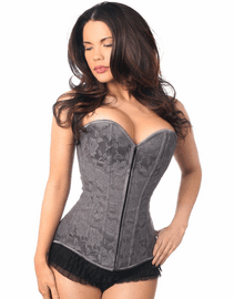 Dark Grey Strapless Lace Up Corset