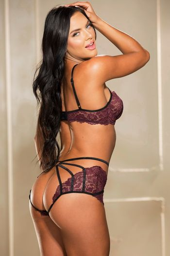 Dark Purple Strappy Lace Bra Set