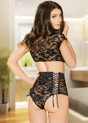 Darling Black Lace Tie Front Top & High Waist Panty Set