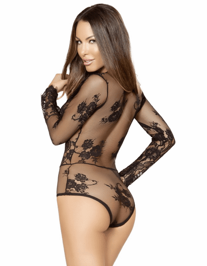 Decadent Desires Black Lace Long Sleeve Teddy