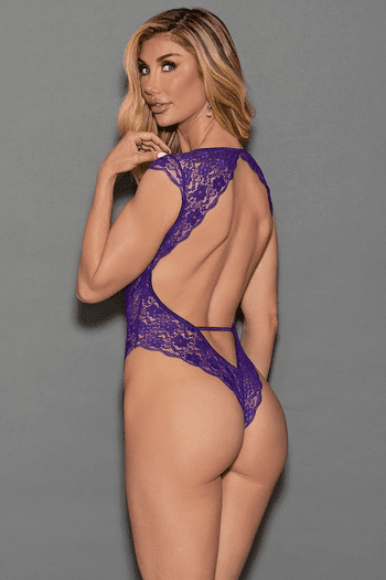 Deep V Plunge & Open Back Lace Teddy