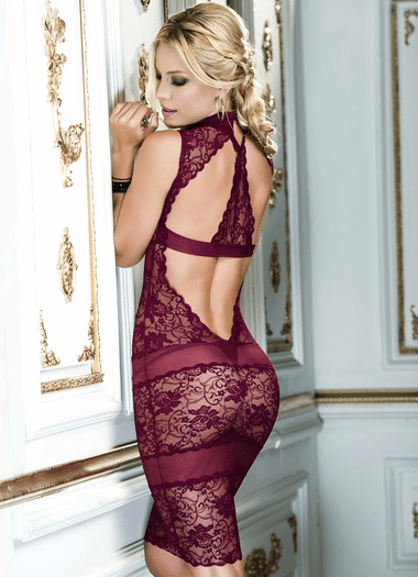 Delicate Desires Sexy Lace Chemise & Thong Set