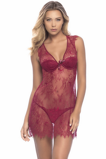 Delicate Touch Sexy Lace Chemise & Thong Set