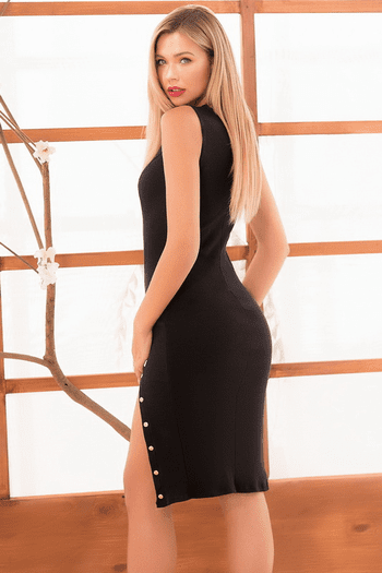 Double Slit Black Dress