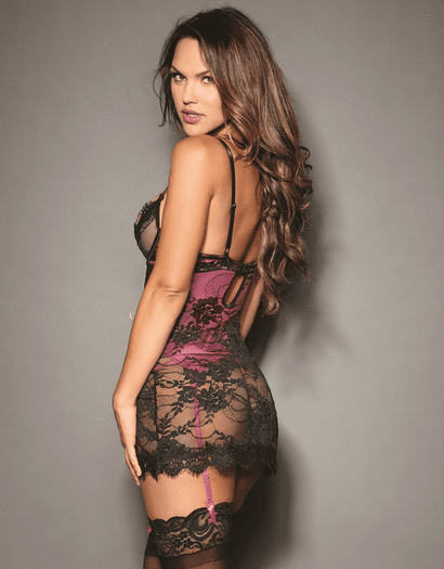 Dramatic Lover Lace Garter Chemise & Thong Set