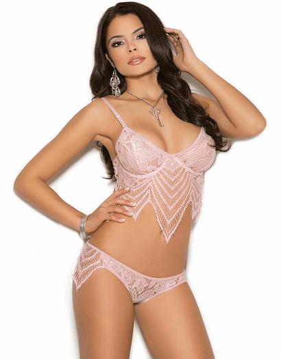 Dusty Rose Romantic Lace Bra & Panty Set