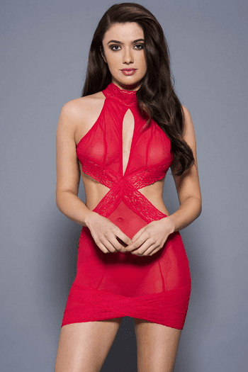 Elegant But Very Sexy Mesh Keyhole Halter Mini Dress