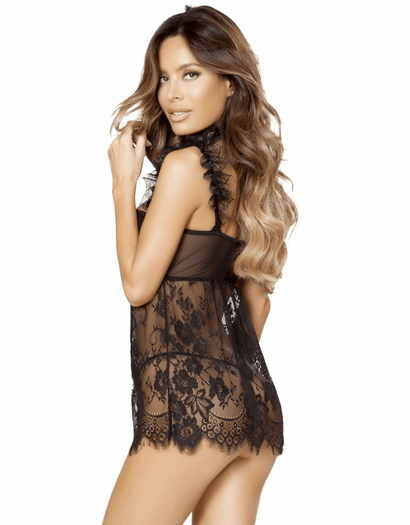 Elegant Persuasion Lace Babydoll & Thong Set